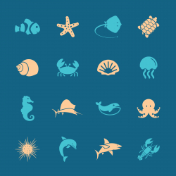 Marine Life Icons - Color Series | EPS10