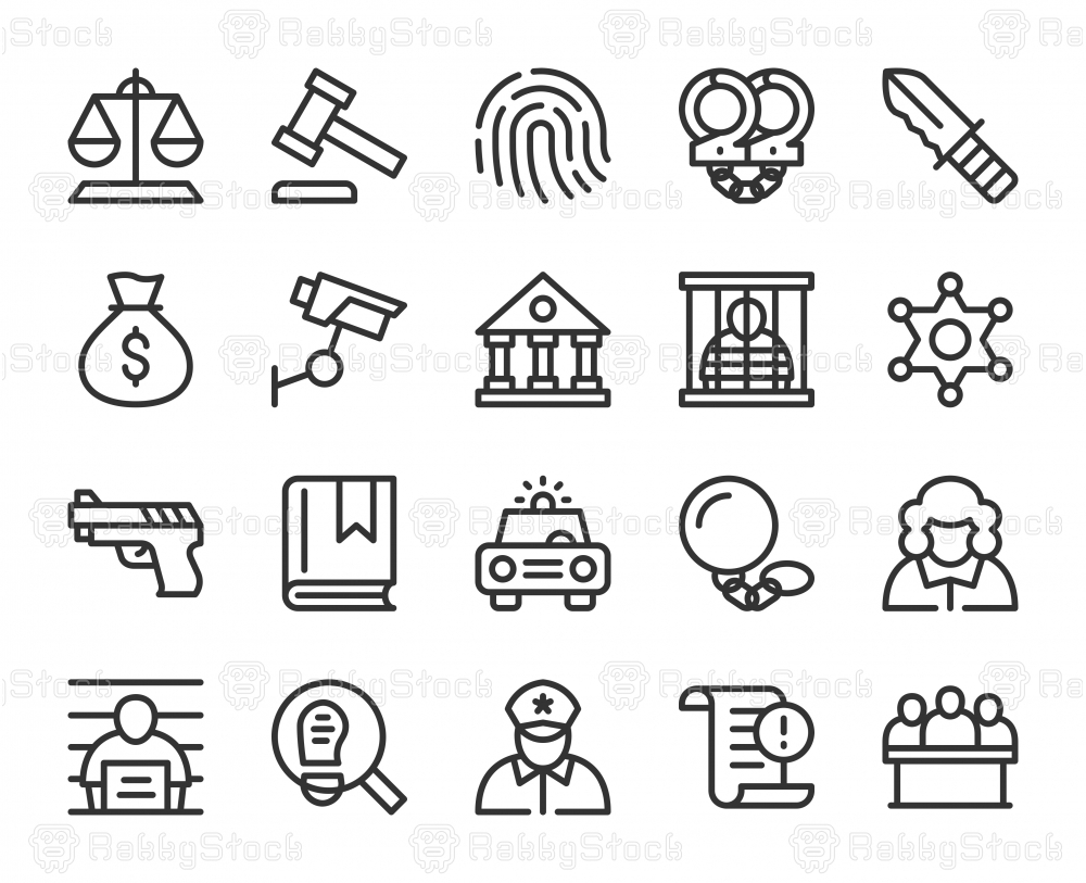 Law and Justice - Line Icons
