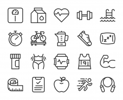 Fitness and Healthy Life - Line Icons