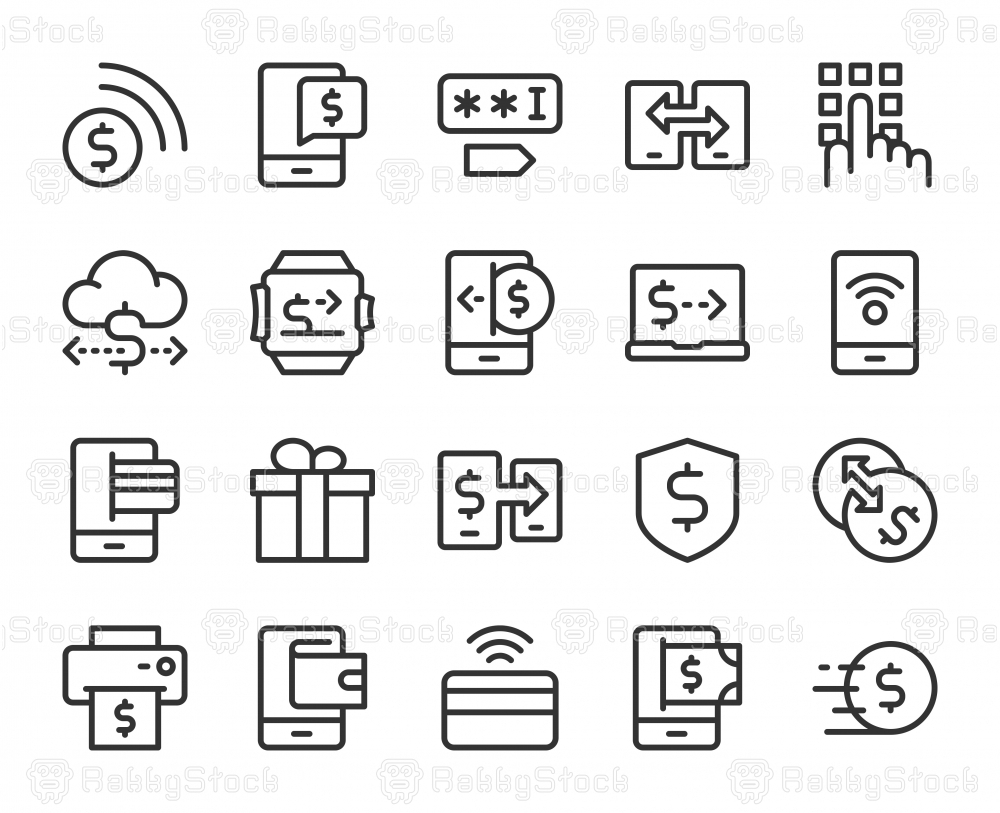 Mobile Banking and Payment - Line Icons