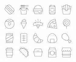 Fast Food - Thin Line Icons