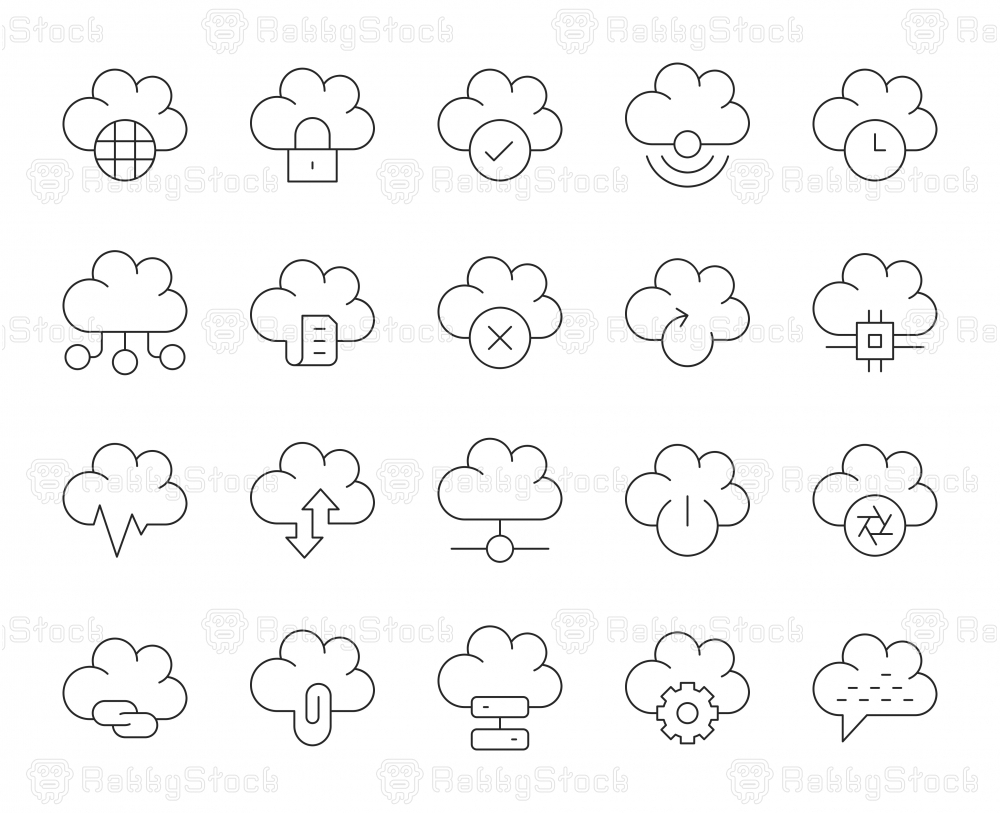 Cloud Computing - Thin Line Icons