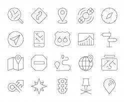 GPS and Navigation - Thin Line Icons