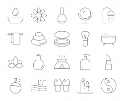 Spa and Beauty - Thin Line Icons