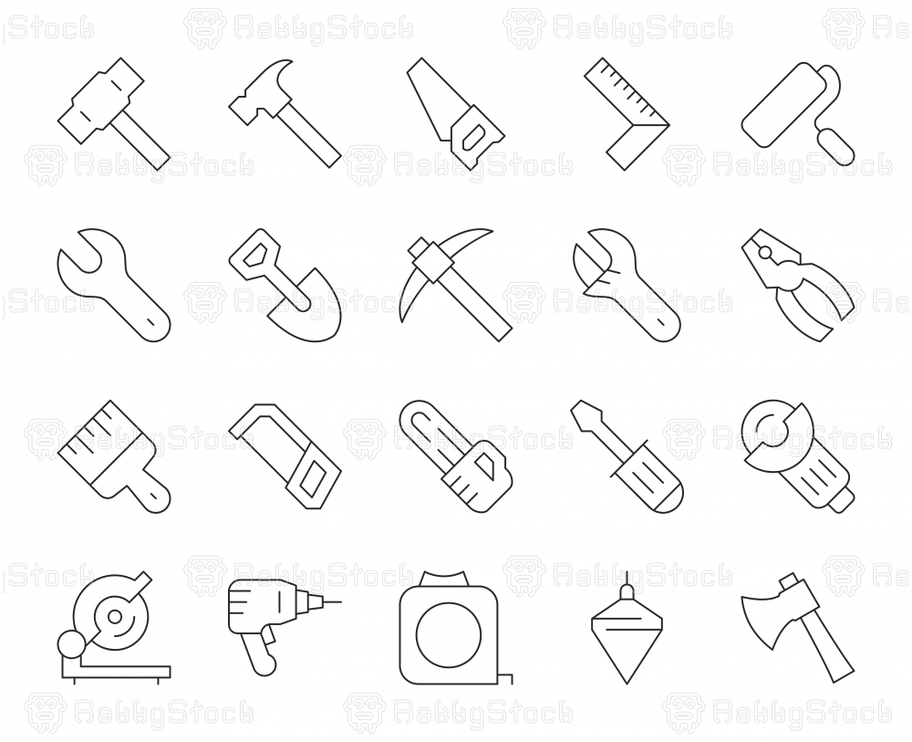Work Tool - Thin Line Icons