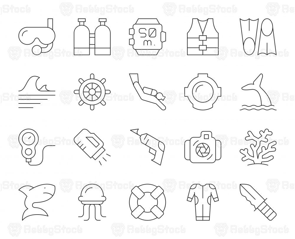Scuba Diving and Snorkeling - Thin Line Icons