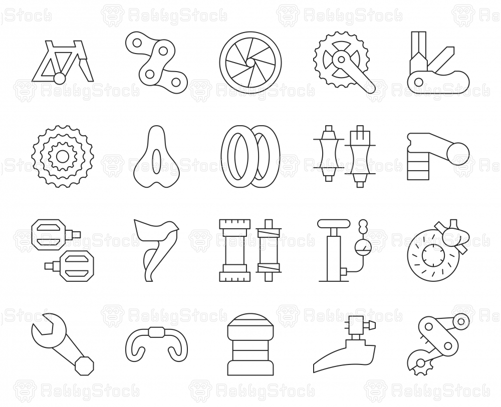 Bicycle Parts - Thin Line Icons
