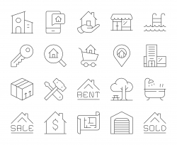 Real Estate - Thin Line Icons