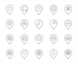 Map Pin Pointer - Thin Line Icons