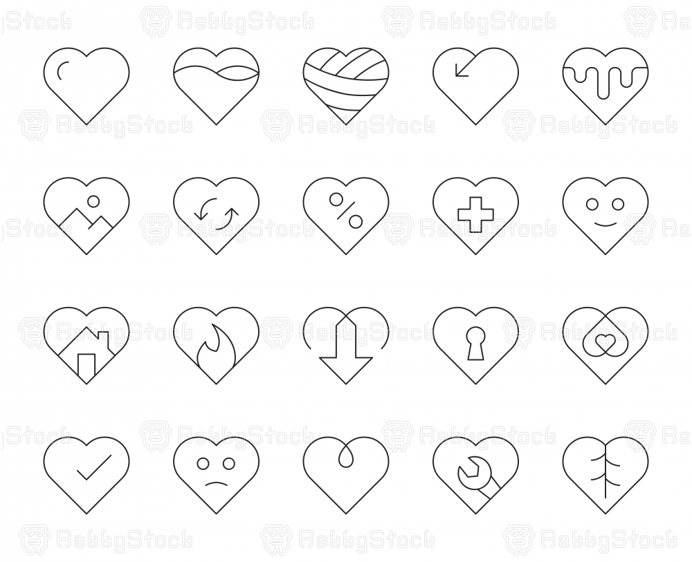 Heart Shape - Thin Line Icons