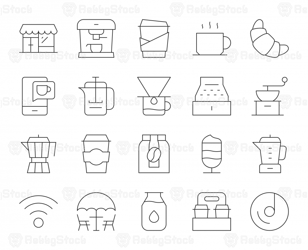 Coffee Shop - Thin Line Icons