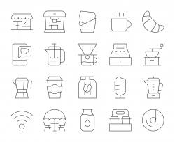 Coffee Shop - Thin Line Icons