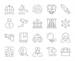 Law and Justice - Thin Line Icons