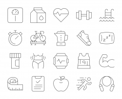 Fitness and Healthy Life - Thin Line Icons