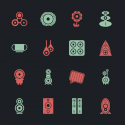 Loudspeaker Design Icons - Color Series | EPS10