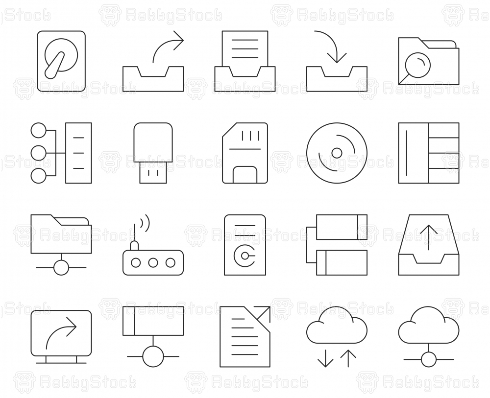 Data Storage - Thin Line Icons
