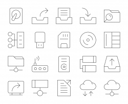 Data Storage - Thin Line Icons