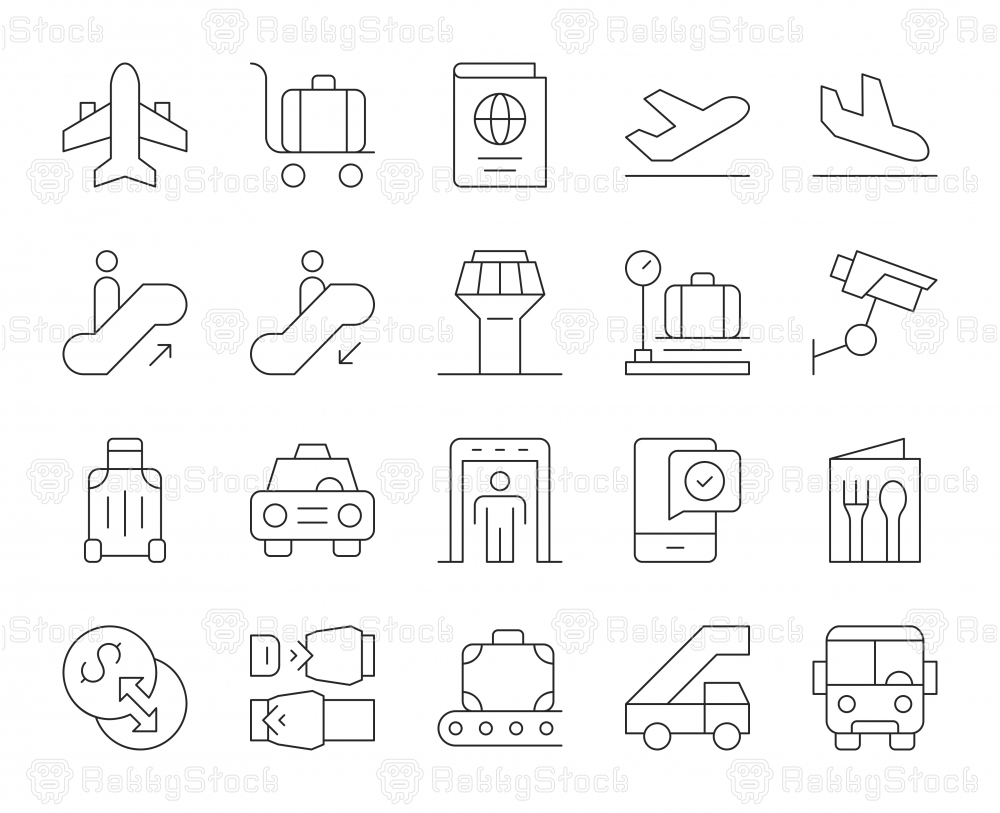 Airport - Thin Line Icons