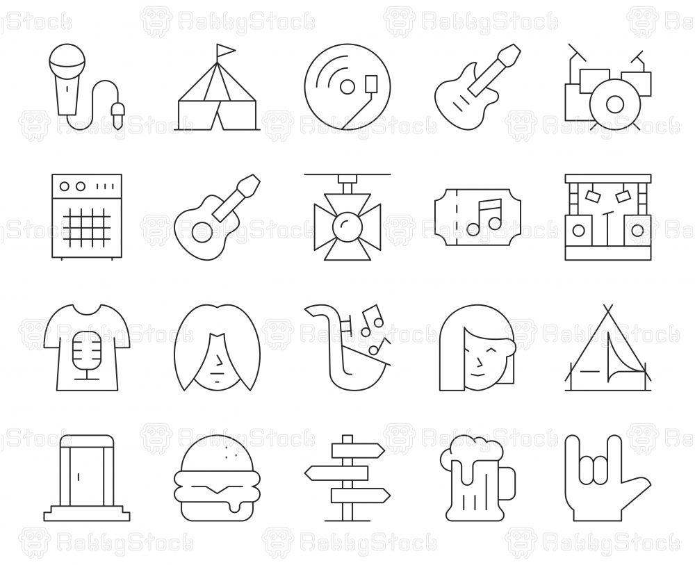 Music Festival - Thin Line Icons