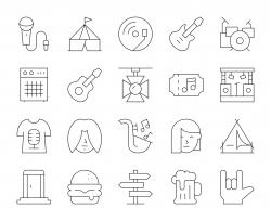 Music Festival - Thin Line Icons