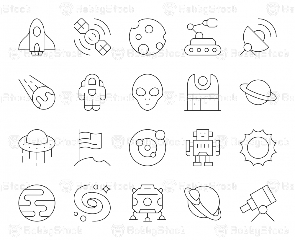 Space - Thin Line Icons