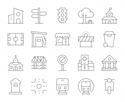 City Element - Thin Line Icons