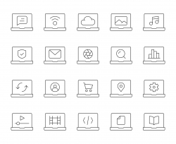 Laptop - Thin Line Icons