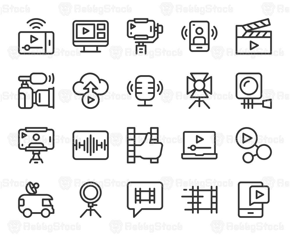 Video blogging and Live Streaming - Line Icons