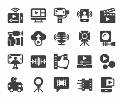 Video blogging and Live Streaming - Icons