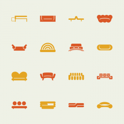 Sofa Design Icons - Color Series | EPS10