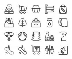Supermarket - Line Icons