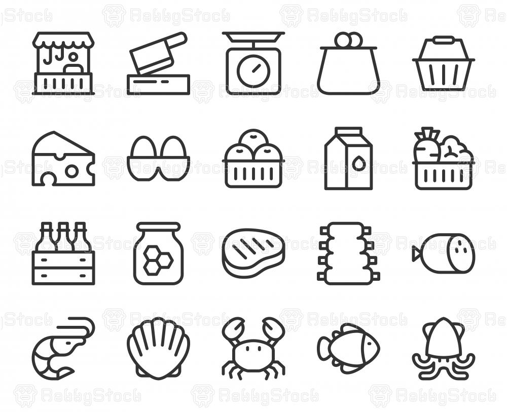 Fresh Market - Line Icons