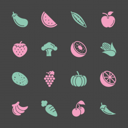 Fruit and Vegetable Icons 1 - Color Series | EPS10