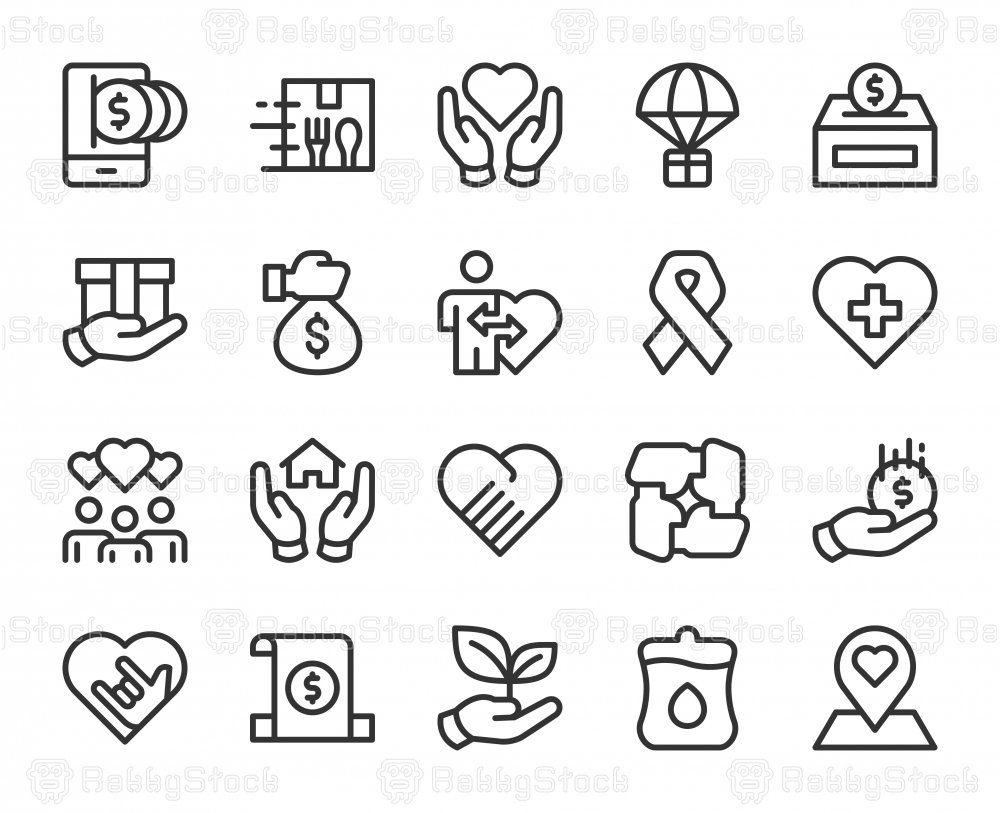 Charity and Donate - Line Icons
