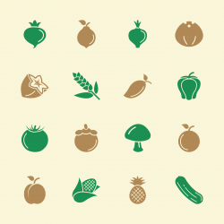 Fruit and Vegetable Icons 2 - Color Series | EPS10