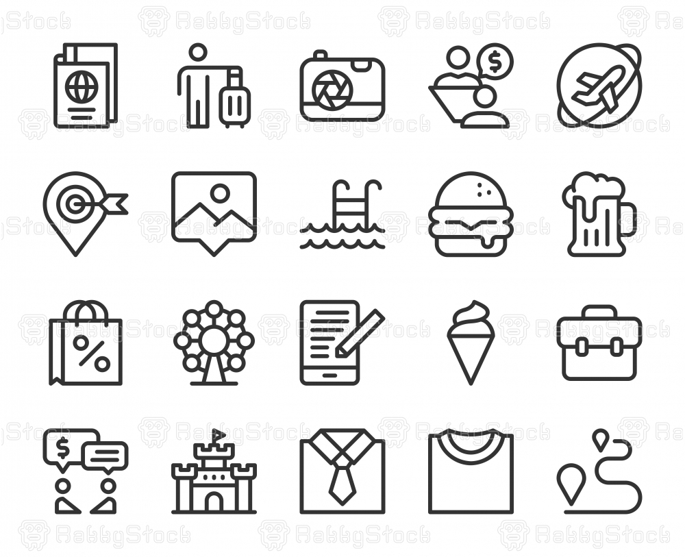 Work and Travel - Line Icons
