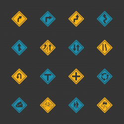 Traffic And Road Sign Icons - Color Series | EPS10