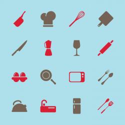 Kitchen Design Icons - Color Series   EPS10