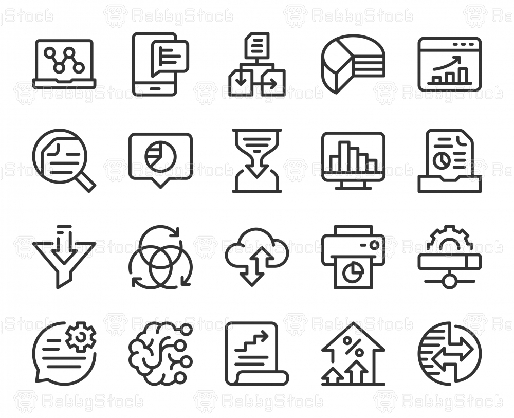 Business Data Analysis - Line Icons