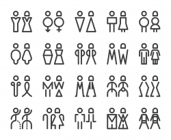 Men and Women Sign - Bold Line Icons