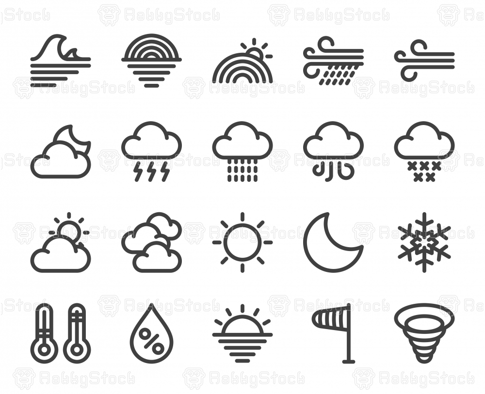 Weather - Bold Line Icons