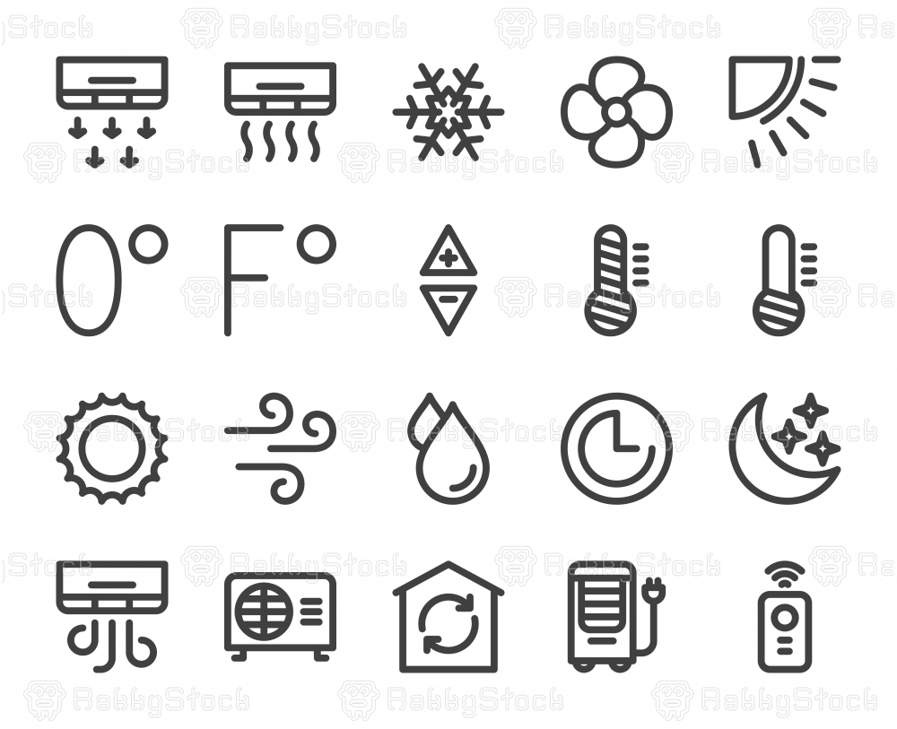 Air Conditioner - Bold Line Icons