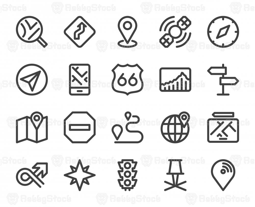 GPS and Navigation - Bold Line Icons