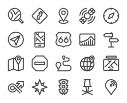 GPS and Navigation - Bold Line Icons