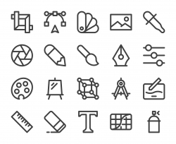 Design and Drawing - Bold Line Icons