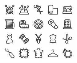 Sewing and Needlework - Bold Line Icons