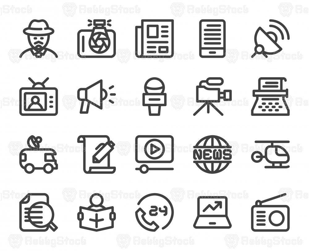 News Reporter - Bold Line Icons