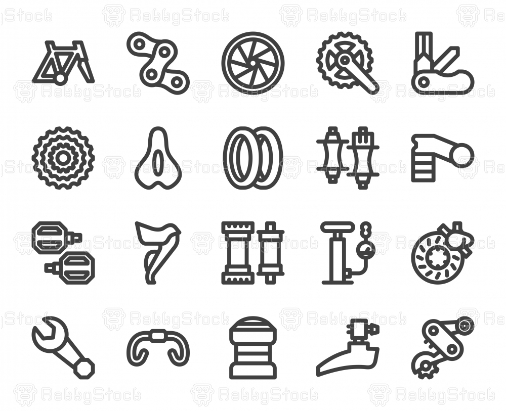 Bicycle Parts - Bold Line Icons