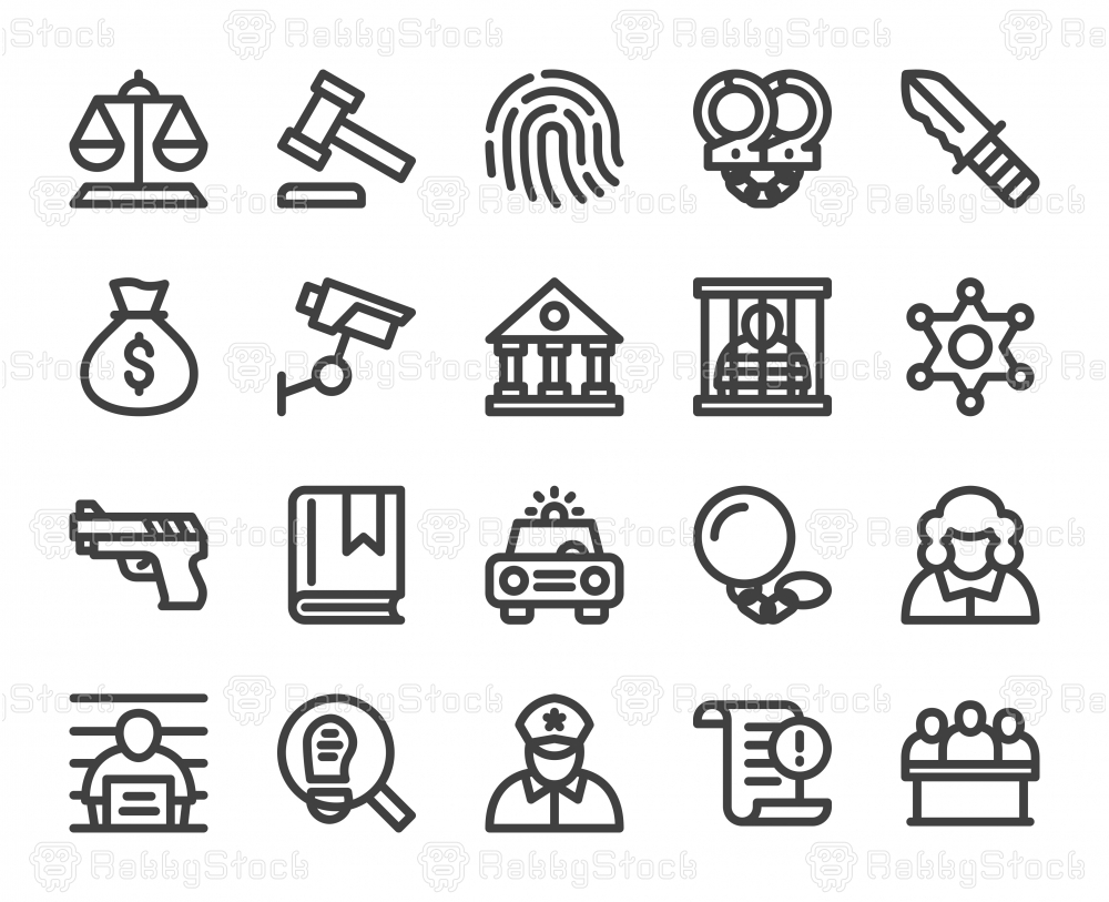 Law and Justice - Bold Line Icons