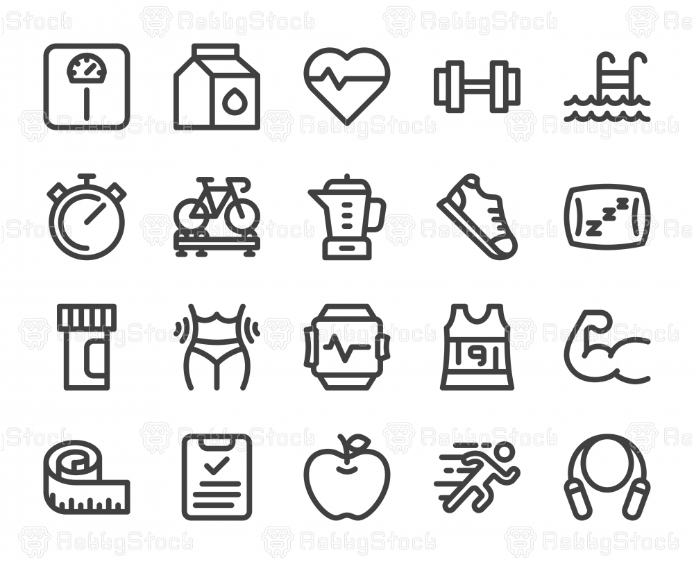 Fitness and Healthy Life - Bold Line Icons